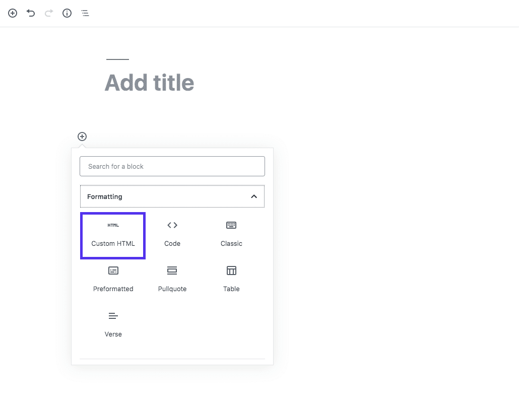 Custom HTML-blok