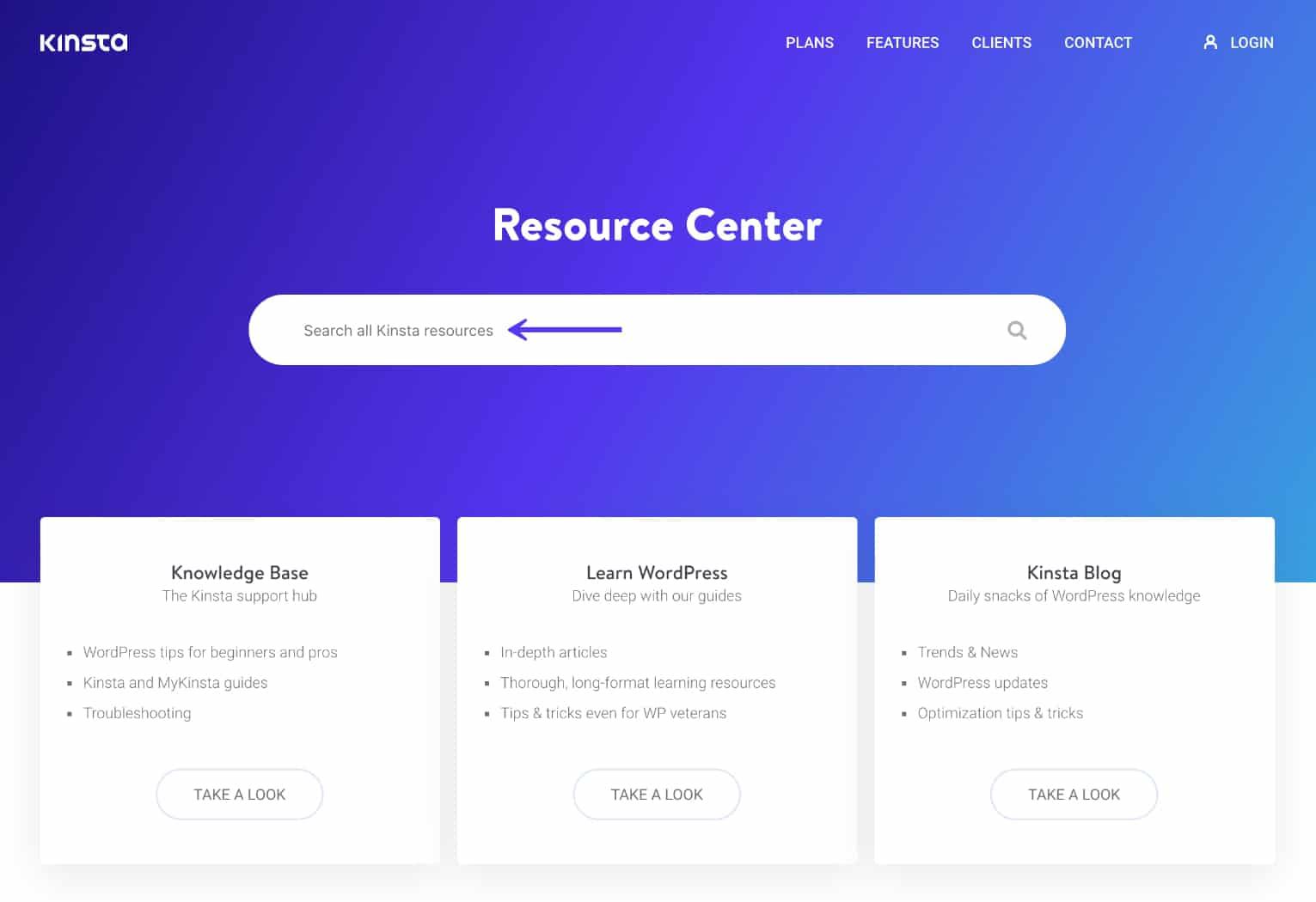 Kinsta Resource Center-søgning