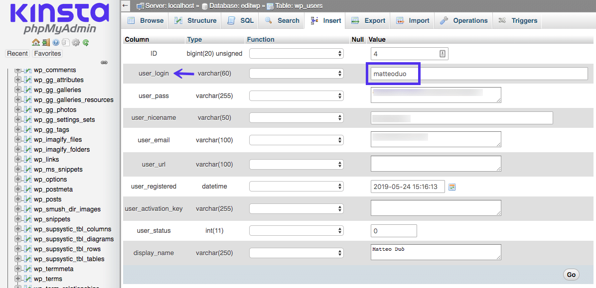 Opdateret dit brugernavn direkte i WordPress-databasen