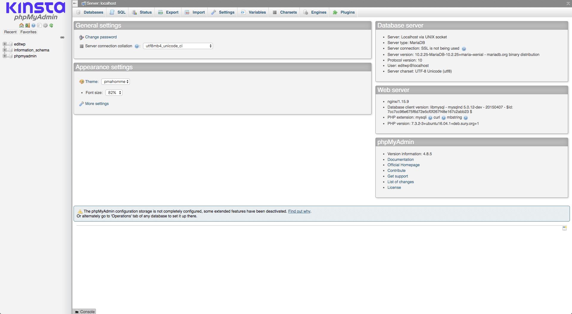 phpMyAdmin manager