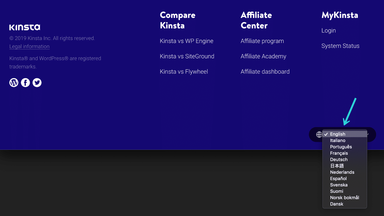 Skift sprog på Kinsta-webstedet