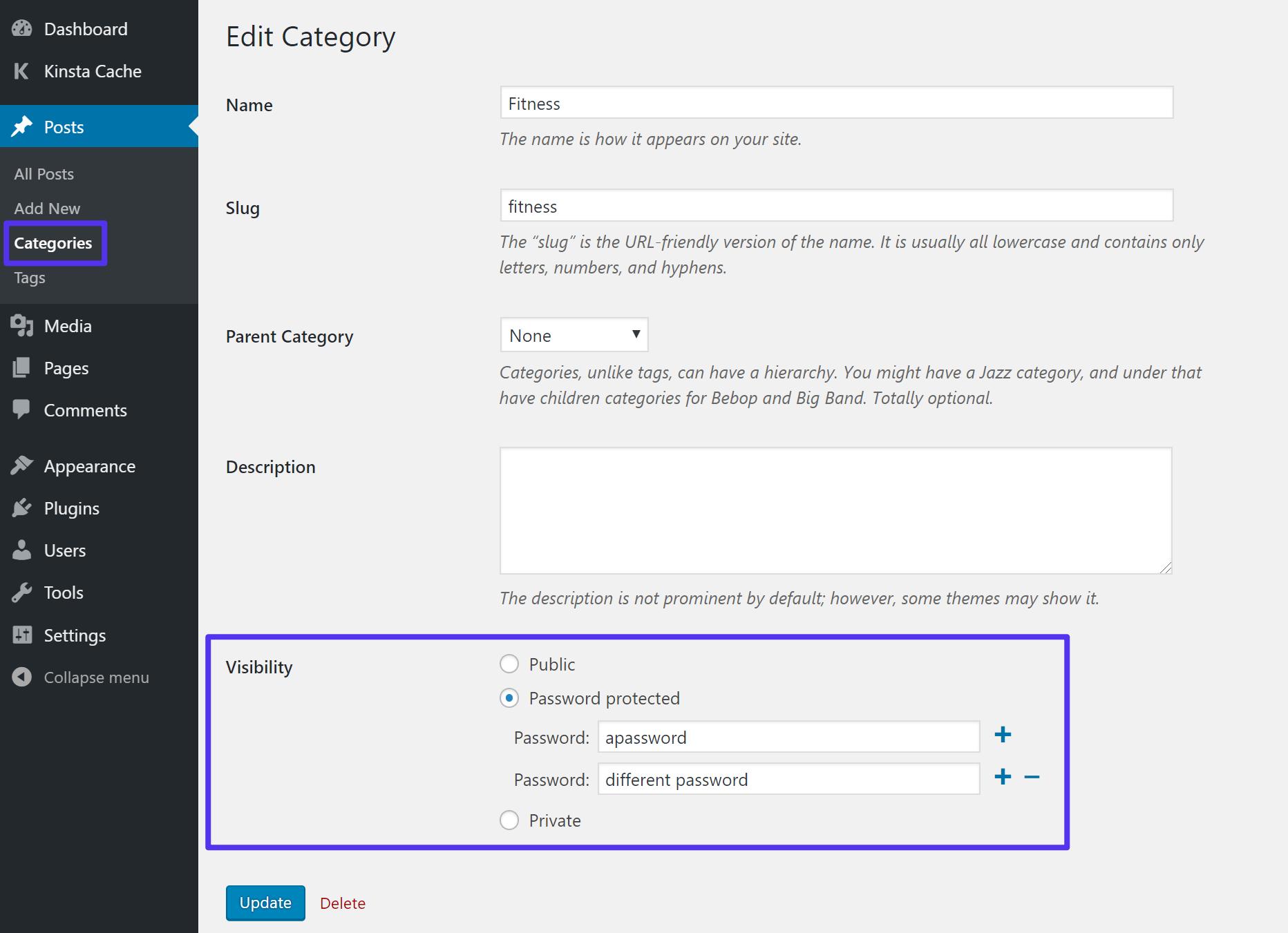 Sådan tilføjes en password til en kategori