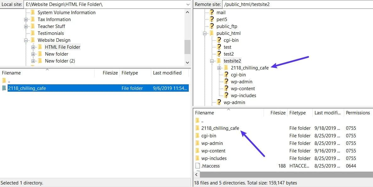 HTML-fil uploadet