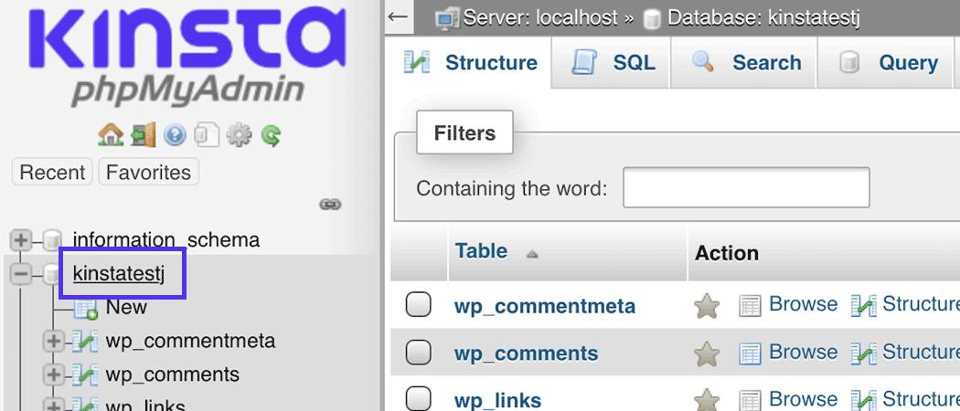 Vælg din database fra menuen.