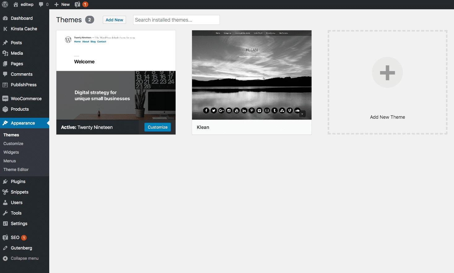 Nuværende tema i WordPress