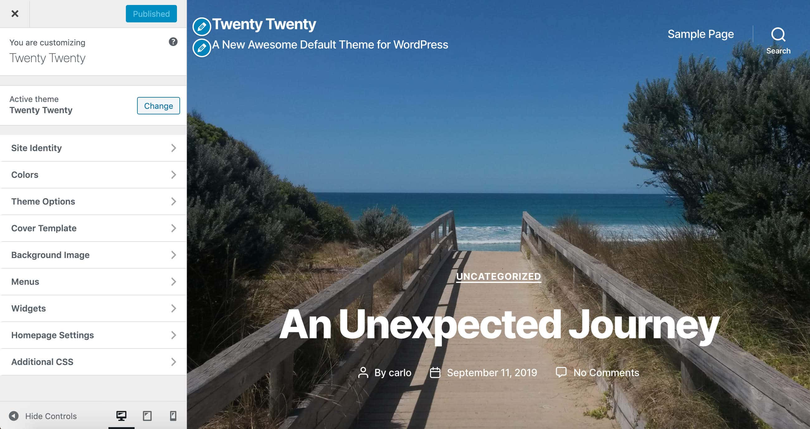 Tema-tilpasser i Twenty Twenty