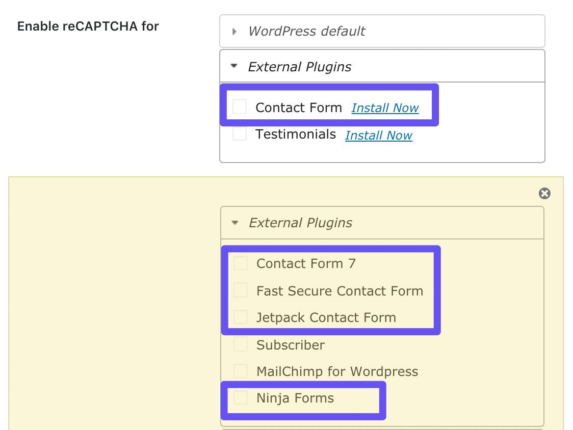 Indstillingerne for gratis contact form og premium-formular i Google Captcha-plugin