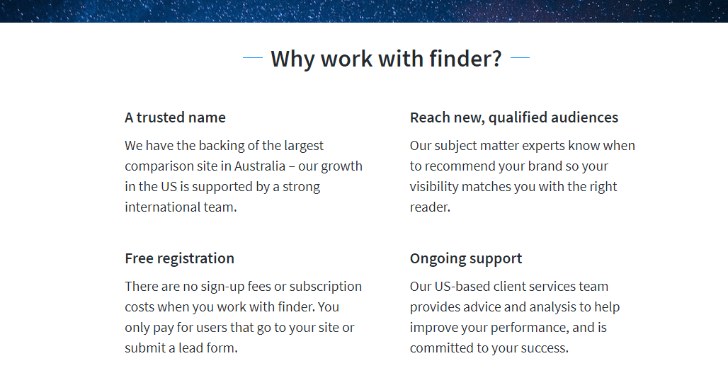 Finder.coms partnerside