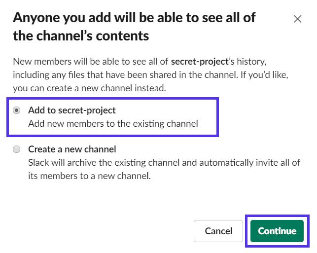 Føjelse af folk til en privat Slack-kanal