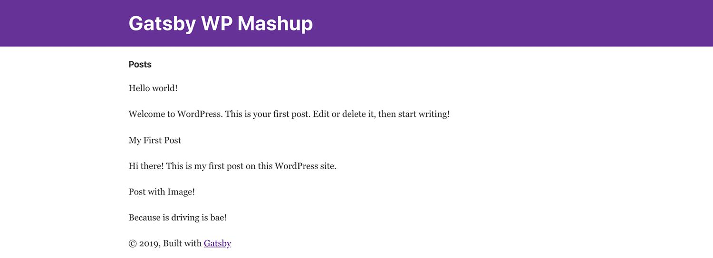 Gatsby-startside med WordPress-indlæg