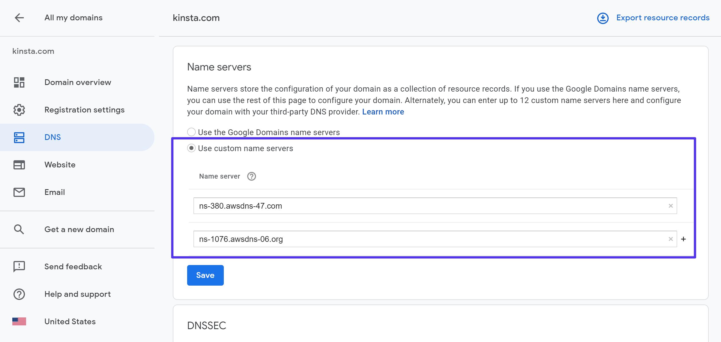 Sådan bruges dine egne navneservere på Google Domains