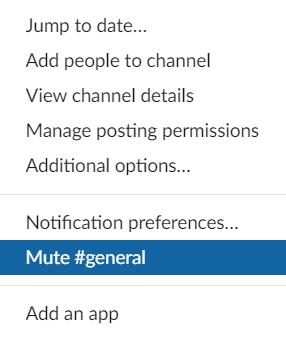 Mute channel i Slack