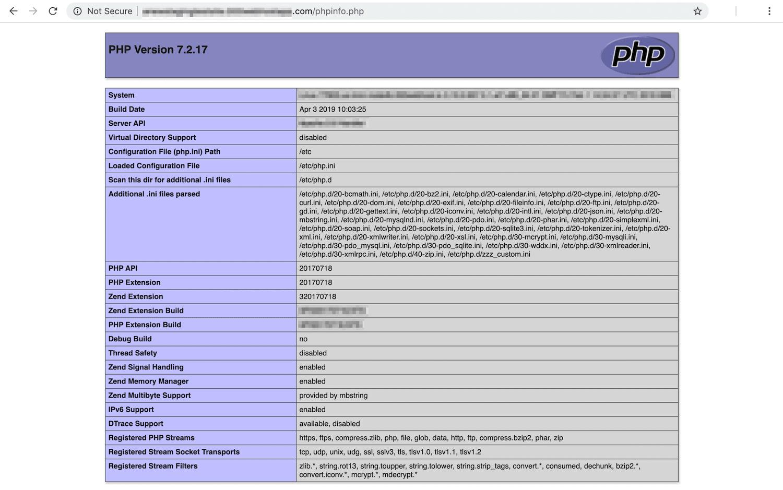 Sådan ser phpinfo-siden ud