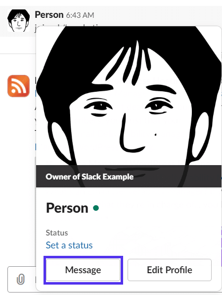 Sender en direkte besked i Slack