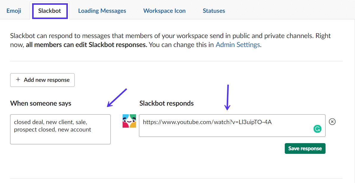 Slackbot brugerdefineret svar