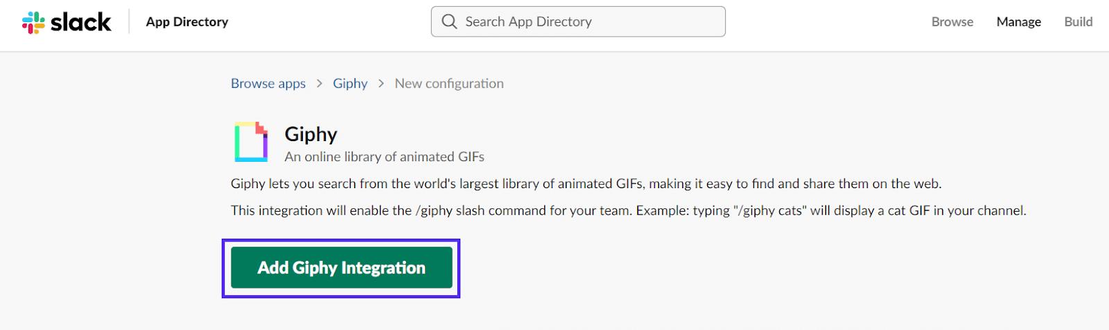 Tilføjelse af Giphy-integration