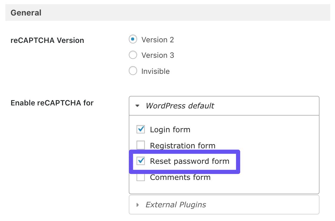 Valgmuligheden Rest password form i Google Captcha plugin