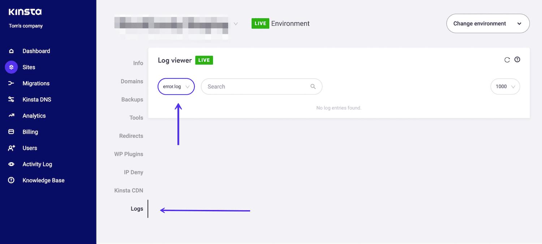 MyKinsta logs fane