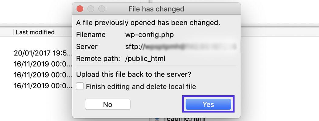 Klik på Ja, når du bliver spurgt, om du vil uploade den ændrede fil