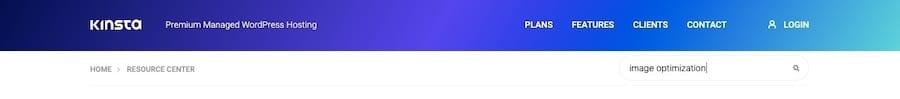 WordPress search field øverst på Kinsta-bloggen