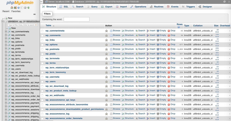 Præfikser skal matche dem i din wp-config.php fil