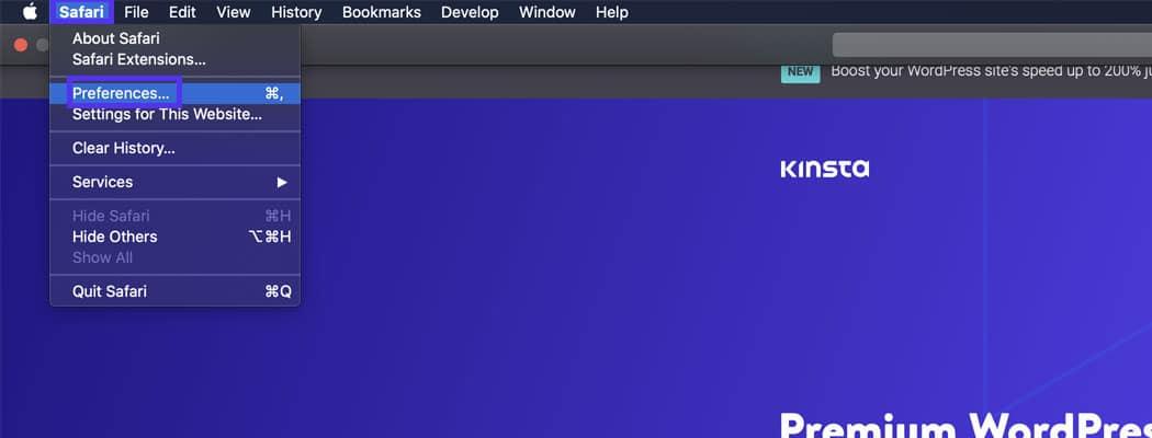 Du kan kontrollere browserens indstillinger ved at vælge Præferencer