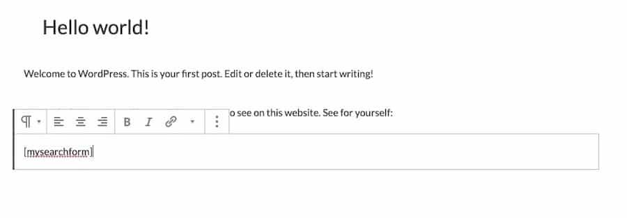 En brugerdefineret shortcode til at tilføje en search bar til dit websted