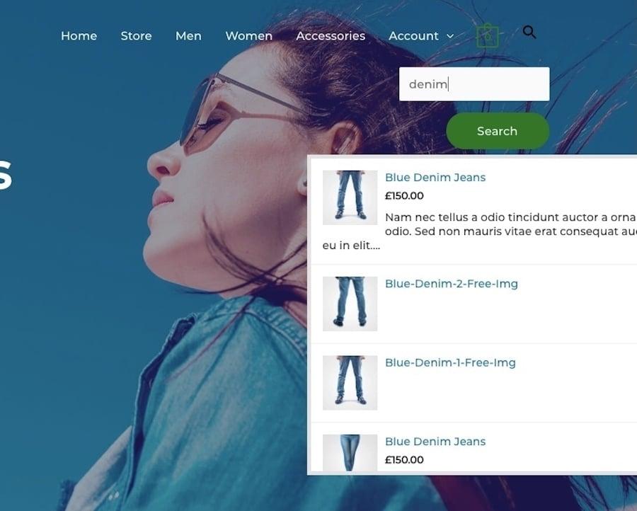Live-søgeresultater fra brugerdefineret search bar med Ivory Search