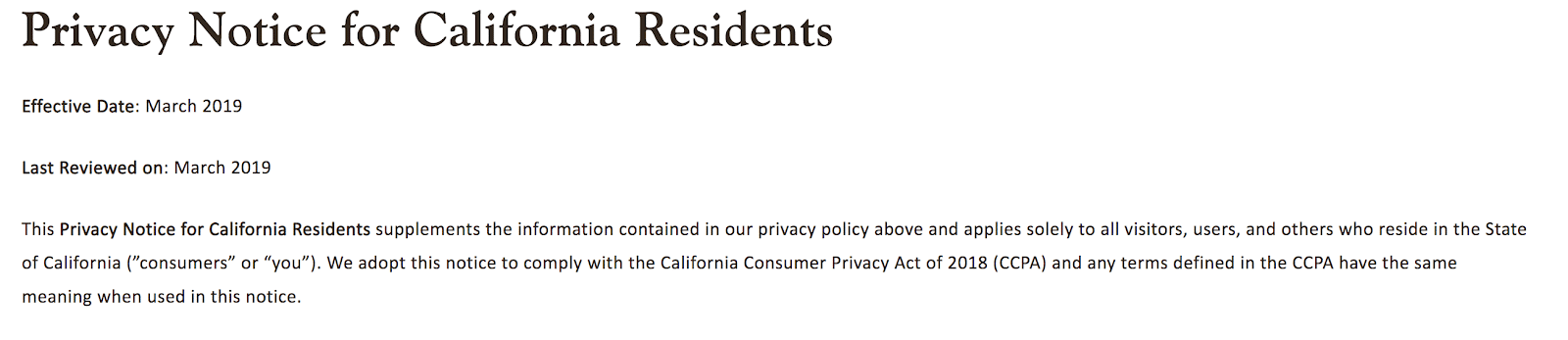 Californien-specifik privatliv meddelelser