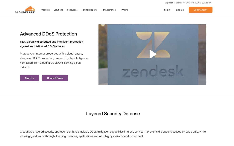 Cloudflare DDoS-beskyttelse