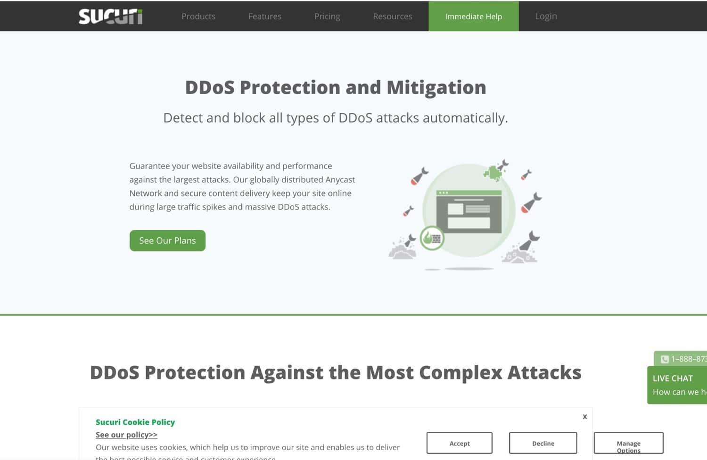 Sucuri DDoS-beskyttelse