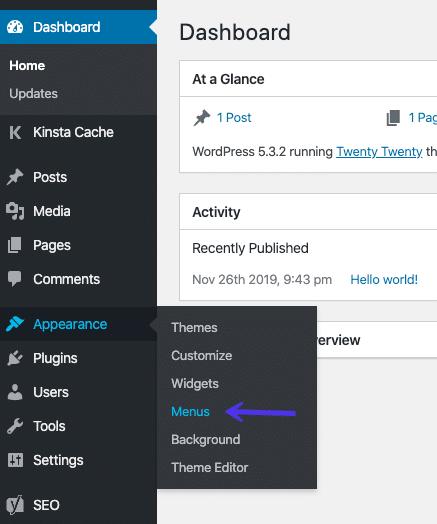 Åbning af menueditoren i WordPress dashboardet