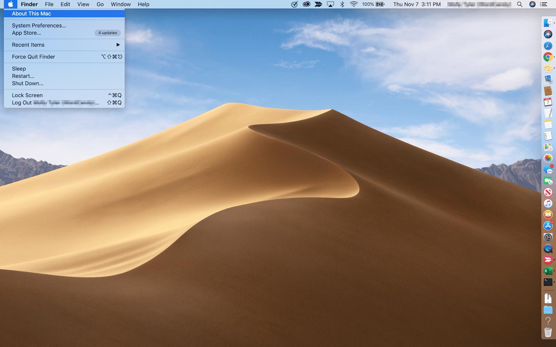 Åbning af vinduet About This Mac