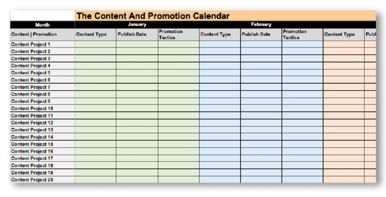 Et eksempel på en content calendar, du kan bruge