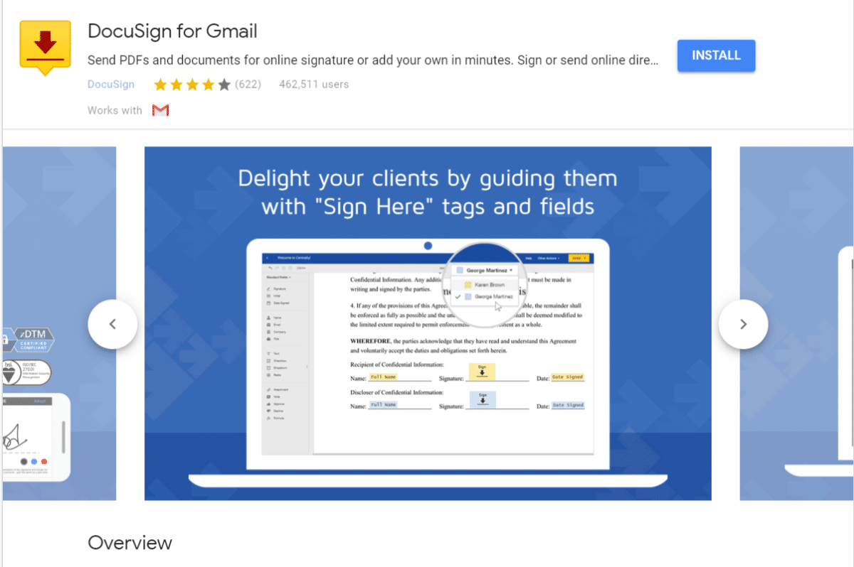 DocuSign til Gmail add-on
