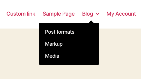 Eksempel på en dropdown menu i WordPress