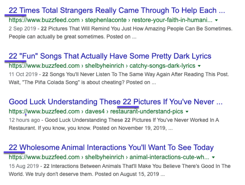 Eksempler på list-posts, der rangeres i Google