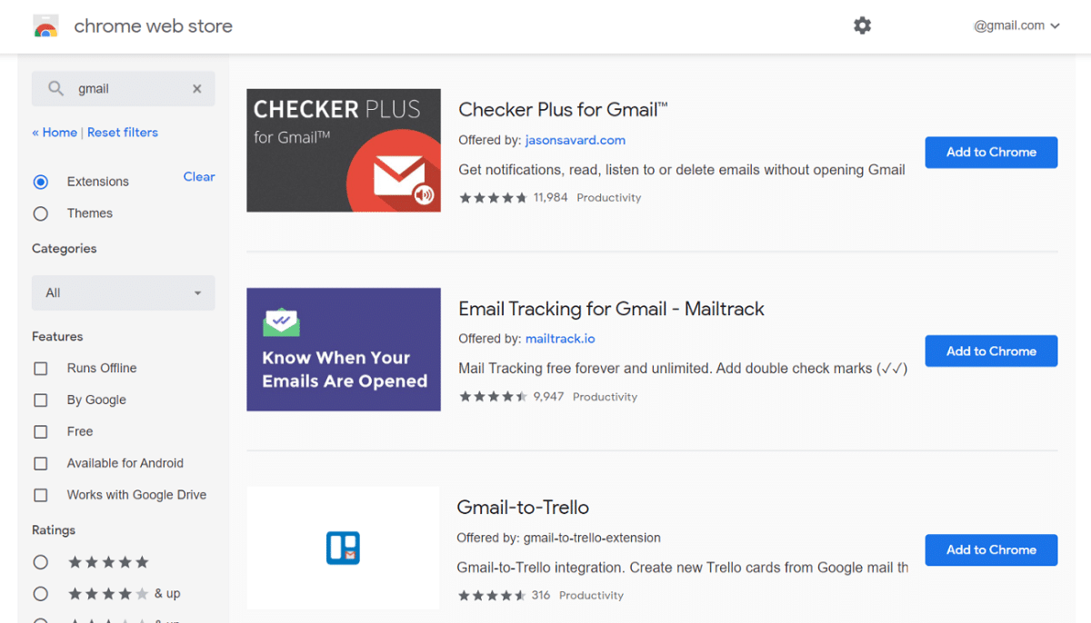Gmail search i Chrome Web Store