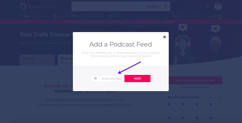 Indsendelse af din podcast til Podchaser