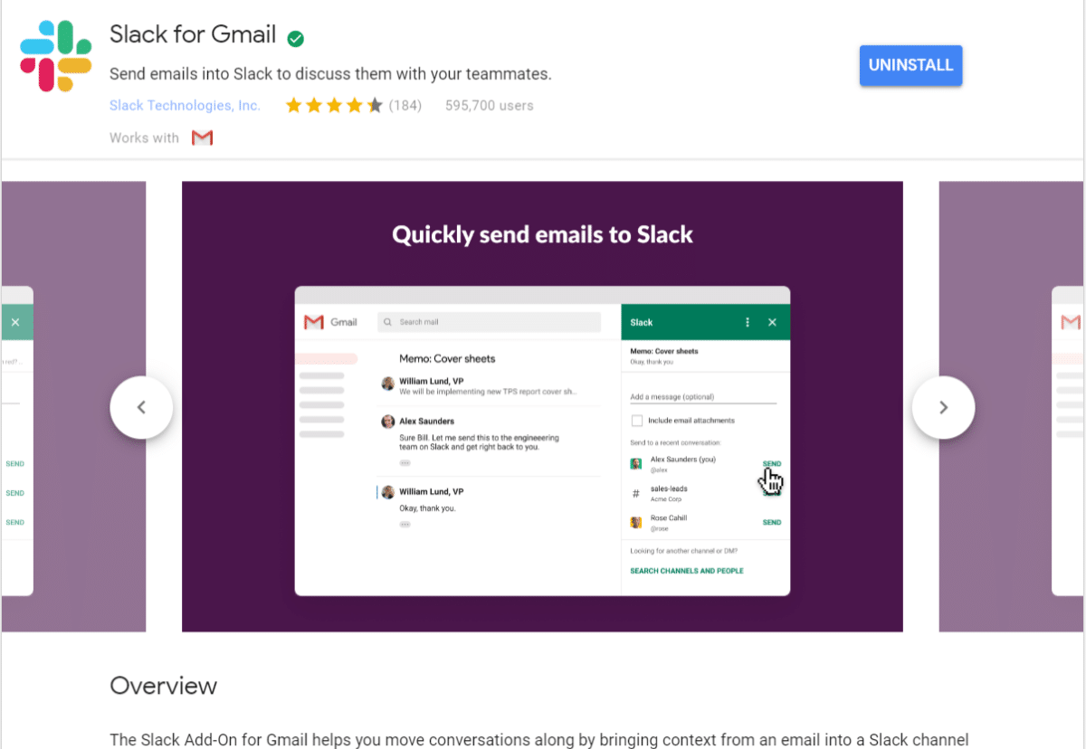 Slack til Gmail add-on