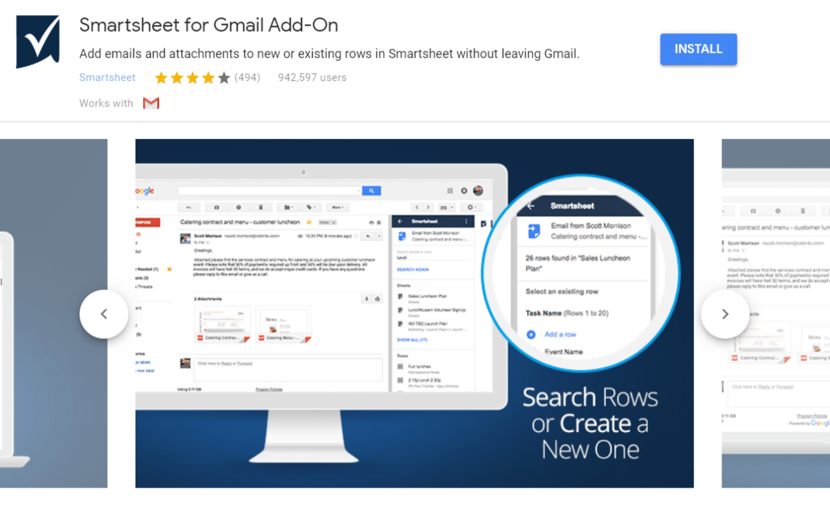 Smartsheet add-on til Gmail