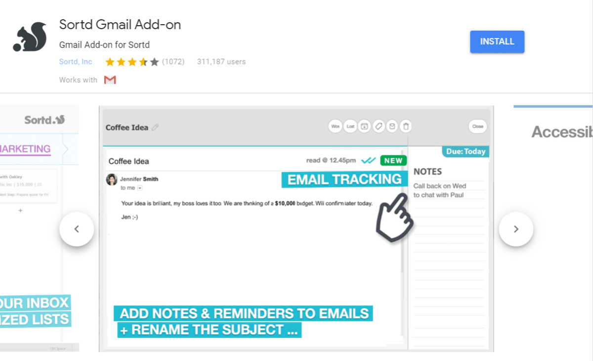 Sortd add-on til Gmail