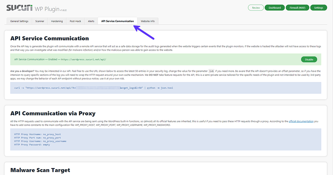 Kommunikere med Sucuris fjern API-service herfra
