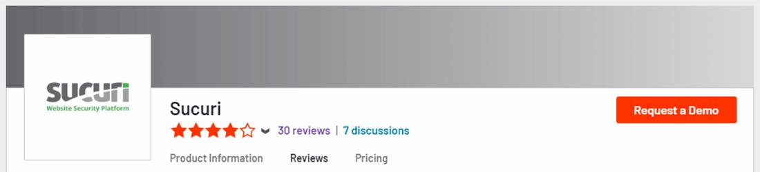 Sucuri nyder en 4-stjernet vurdering på G2.com
