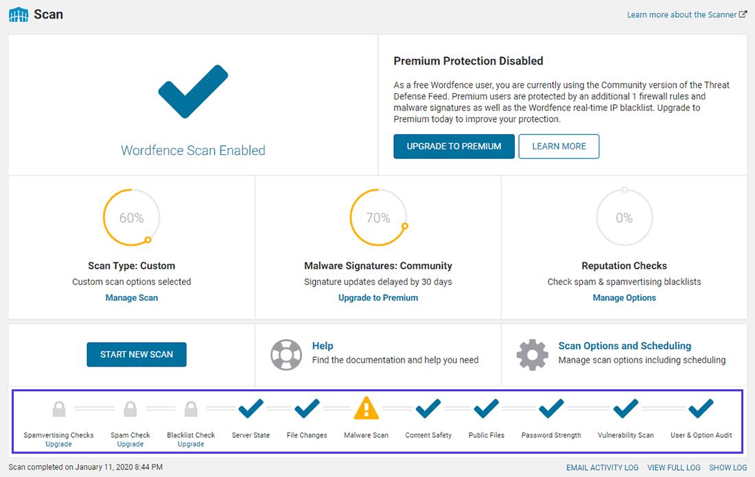 Administrer dine Wordfence-scannings indstillinger herfra