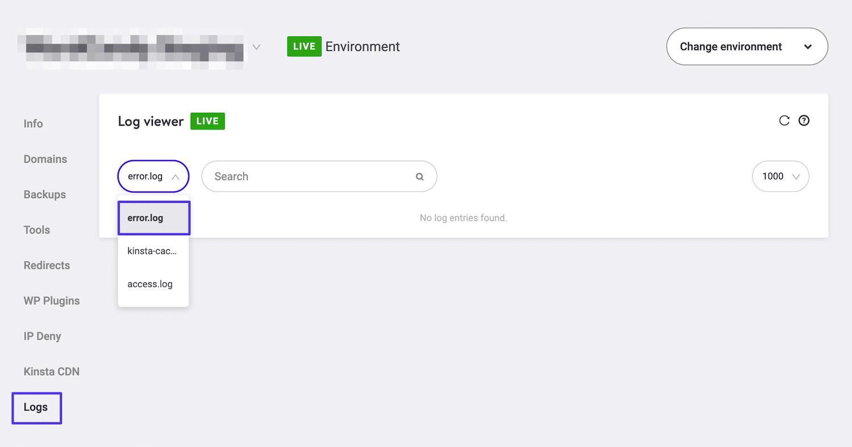 Adgang til fejllogs i MyKinsta