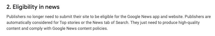 Google News content politikker