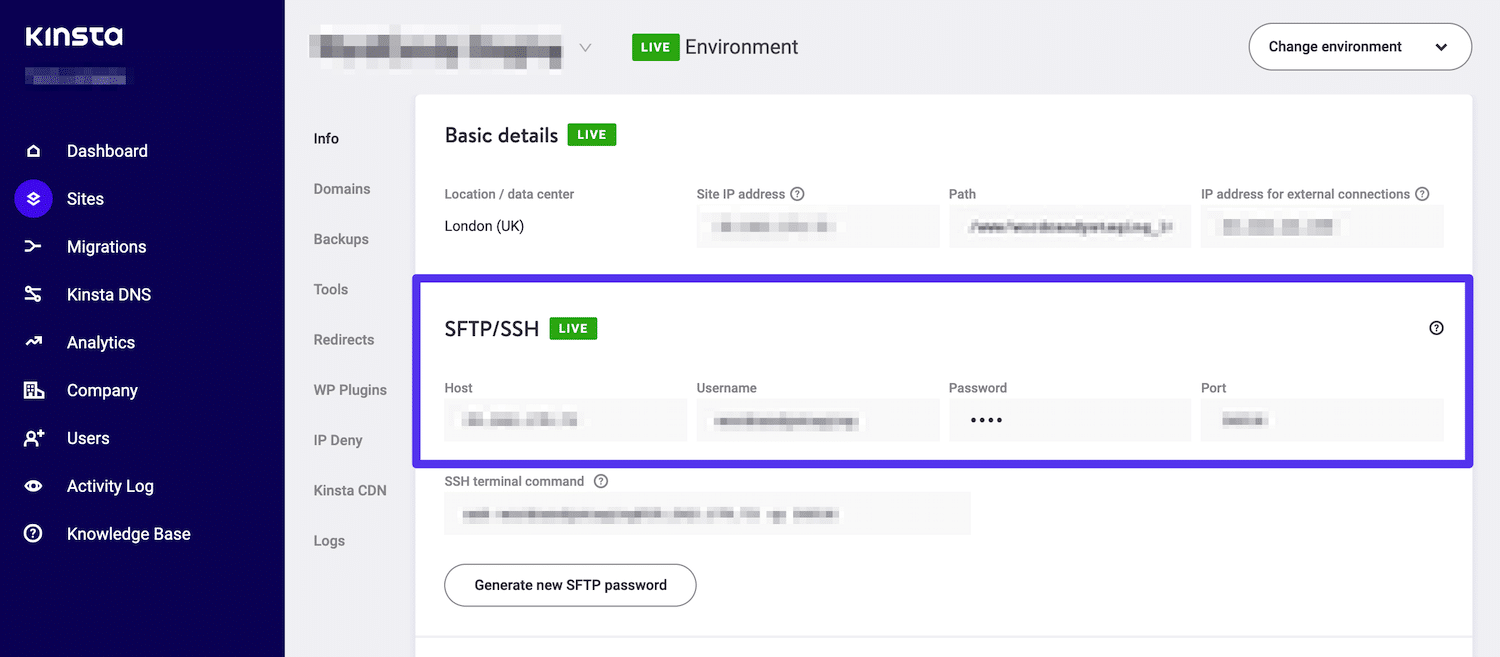 FTP-legitimationsoplysninger i MyKinsta-dashboardet