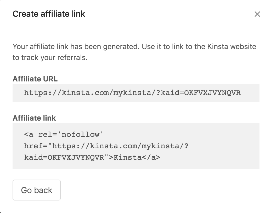 Oprettelse af et affiliate link