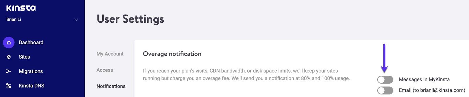 Overage notification vindue